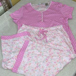 Jasmine Rose Women's Pajamas NWOT Lg Floral & Dots
